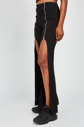 Boob-Tube And Zipper Slit Trousers Set