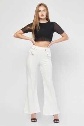 Button Trim High Waisted Trousers