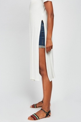 Casual Side Slit Jersey Top