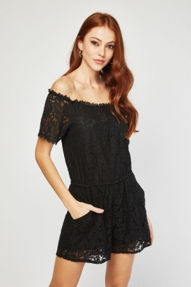 Crochet Lace Overlay Playsuit
