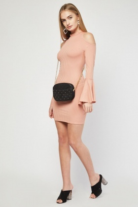 Flute Sleeve Rib Bodycon Dress