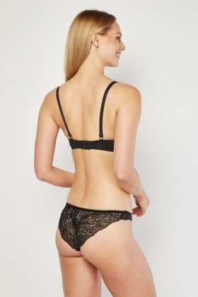 Lace Trim Balcony Bra And Brief Set