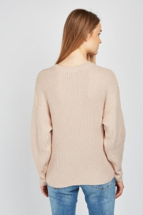Perforated Herringbone Knit Jumper