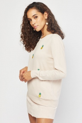 Pineapple Applique Knit Sweater