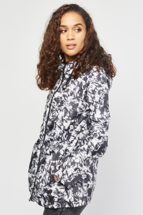 Speckled Hooded Rain Coat