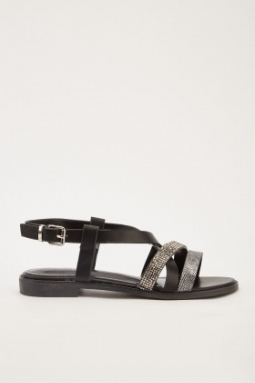 Encrusted Contrast Flat Sandals