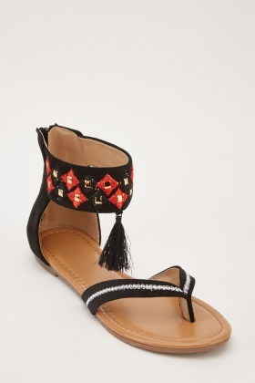 Ethnic Embroidered Tassel Sandals