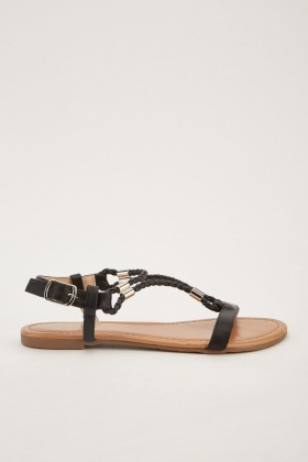 Plaited Faux Leather Strap Sandals