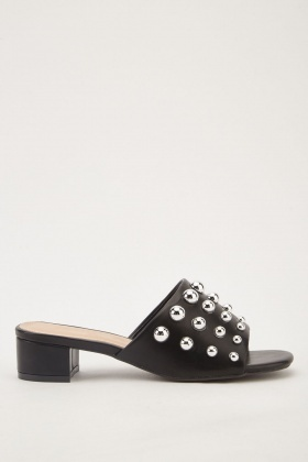 Studded Faux Leather Block Heel Mules