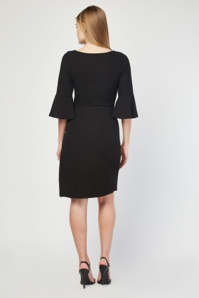 Bell Sleeve Midi Bodycon Dress