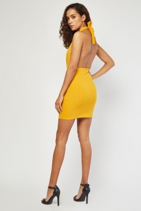 Low Plunge Halter-Neck Dress