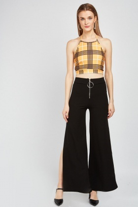 O-Ring Zip Trim Slit Trousers