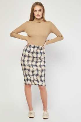 Plaid Contrast Midi Skirt