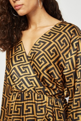 Ruffle Art Deco Wrap Dress