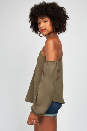 Triangle Strap Cold Shoulder Blouse