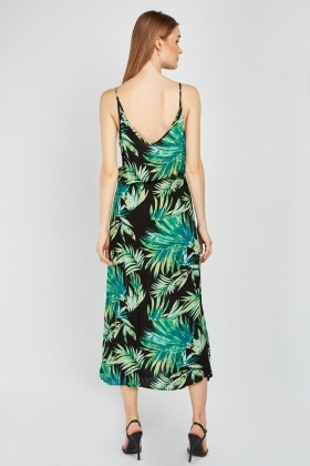 Tropical Print Slip Maxi Dress