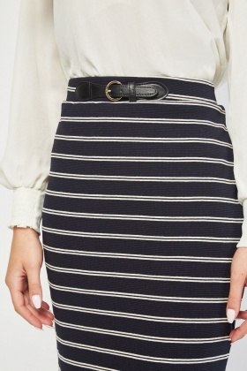Belted Trim Stripe Midi Skirt