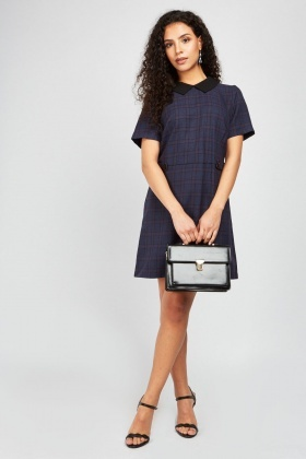 e6606b3745e6d Checkered Mini Shift Dress