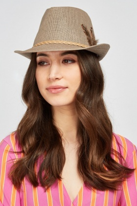 Feather Trim Jute Fedora Hat