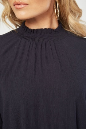 High Neck Sheer Blouse