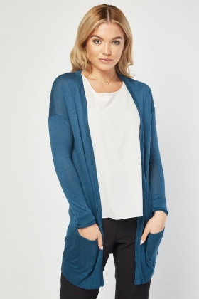 5f60837b4d8bf4 Open Front Thin Knit Cardigan
