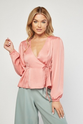 Pleated Hem Sateen Wrap Blouse