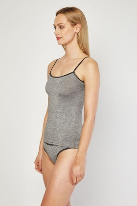 Silver Lurex Cami Top And Brief Set