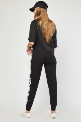 Textured Stripe Side Jogger Pants
