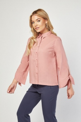 Tie Up Sleeve Cotton Shirt