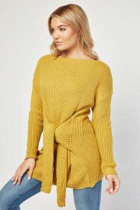 Tie Up Sleeve Style Knit Jumper