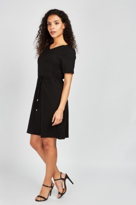 Tie Up Waist Crinkled Dress