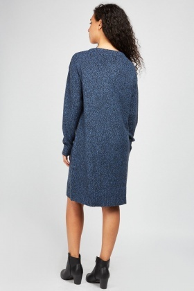 V-Neck Knit Jumper Dress