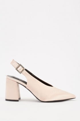 Diamante Buckle Strap Court Heels