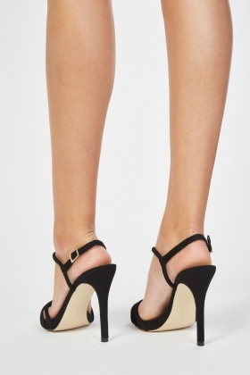 Faux Suede Strap Heeled Sandals