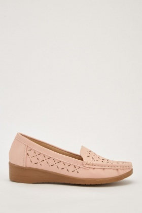 Laser Cut Low Wedge Loafers