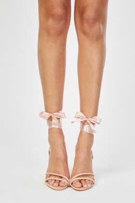 Ribbon Tie Up Heeled Sandals