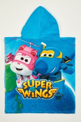 Super Wings Boys Beach Hooded Poncho