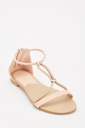 Two-Tone Strap Flat Sandals