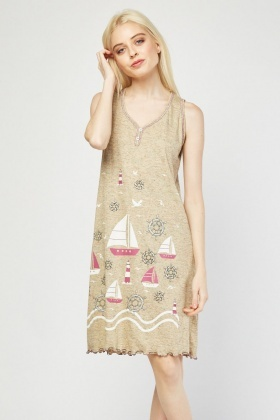 Anchor Boat Print Nightie