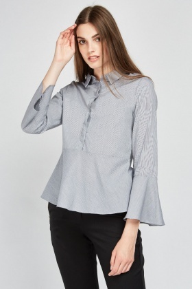 Bell Sleeve Stripe Shirt
