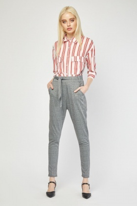 Belted Plaid Tapered Trousers