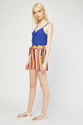 Belted Striped Culotte Shorts