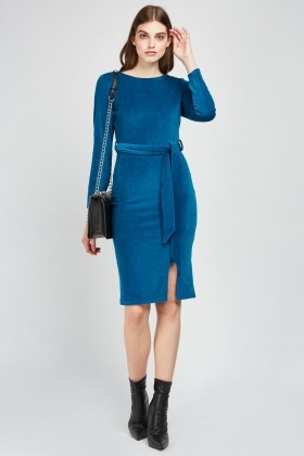 Belted Velveteen Midi Dress