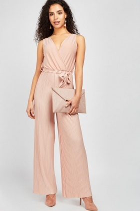 super quality reputation first clearance prices Belted Wrap Pleated Jumpsuit