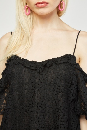 Cold Shoulder Lace Overlay Top