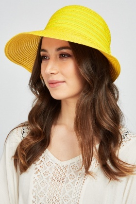 Contrasted Bow Back Straw Hat
