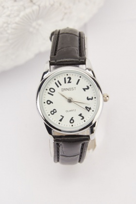 Faux Leather Strap Classic Watch