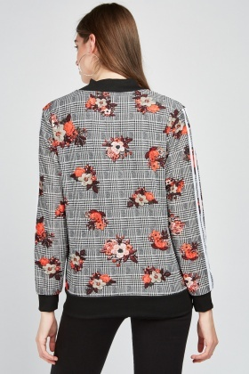 Floral Plaid Thin Bomber Jacket