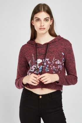 Floral Speckled Hooded Top