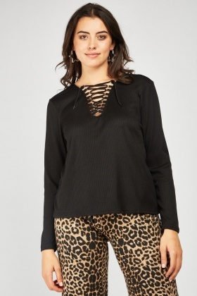 Lace Up Rib Top